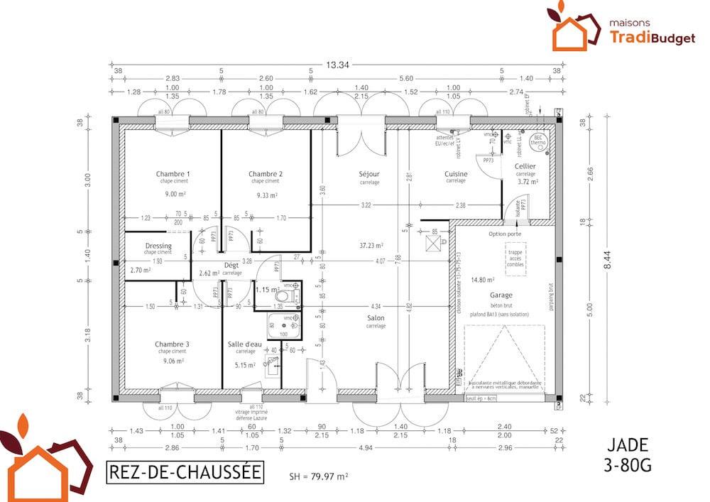 Modele Maison Styl Habitat JADE plan rdc 3-80G
