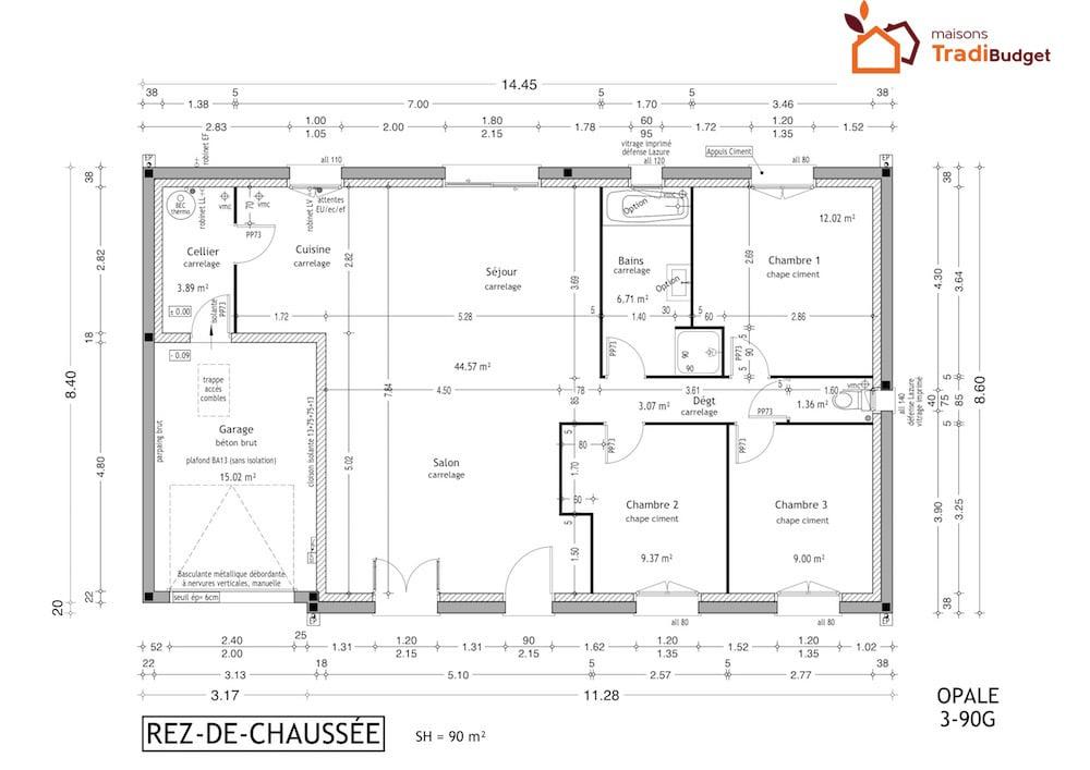 Tradibudget maison Modele Maison Styl Habitat OPALE plan 3-90G15