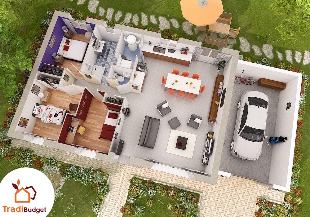 Tradibudget maison Modele Maison Styl Habitat Rubis_Axo_HD