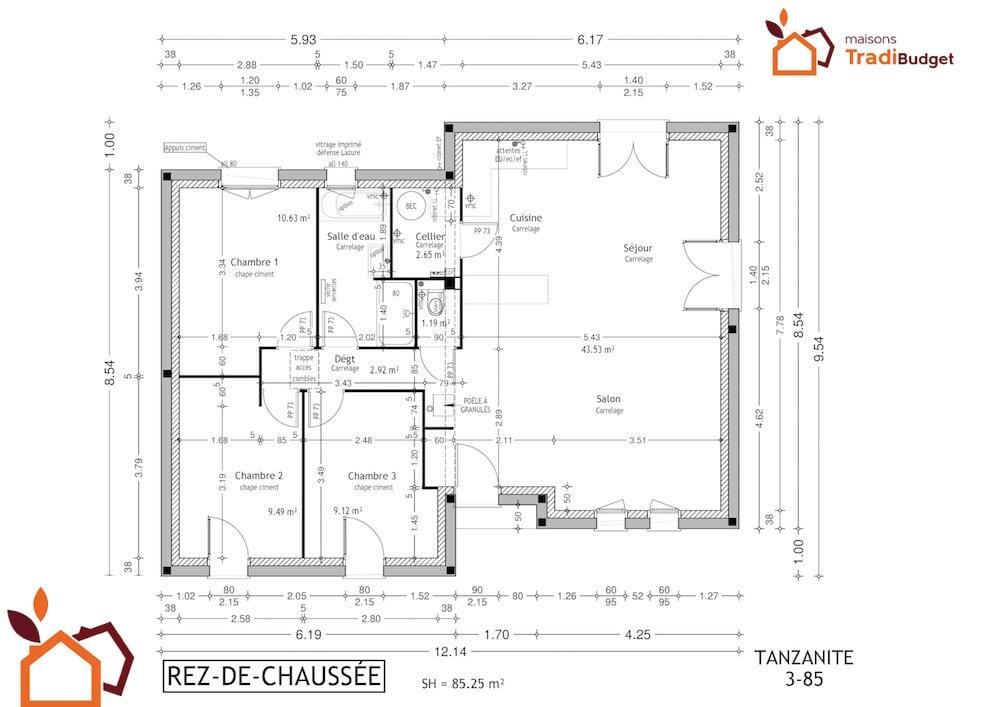 Tradibudget maison Modele Maison Styl Habitat TANZANITE plan rdc3-85