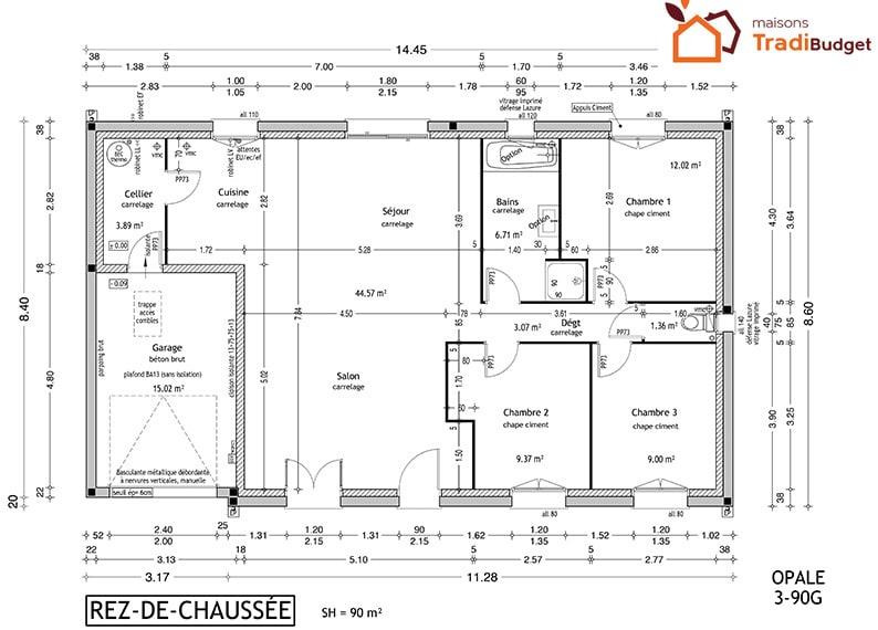 Tradibudget maison rdc OPALE 3-90G15