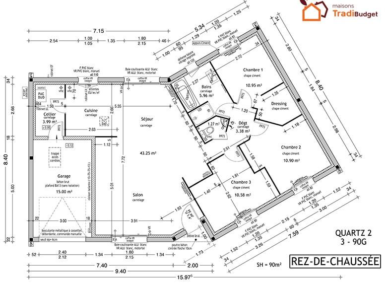 Tradibudget maison rdc2 QUARTZ 3-90G