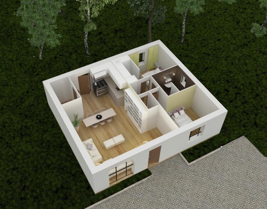 Tradibudget maison traditionnelle Axonometrie 3D maison agathe parter
