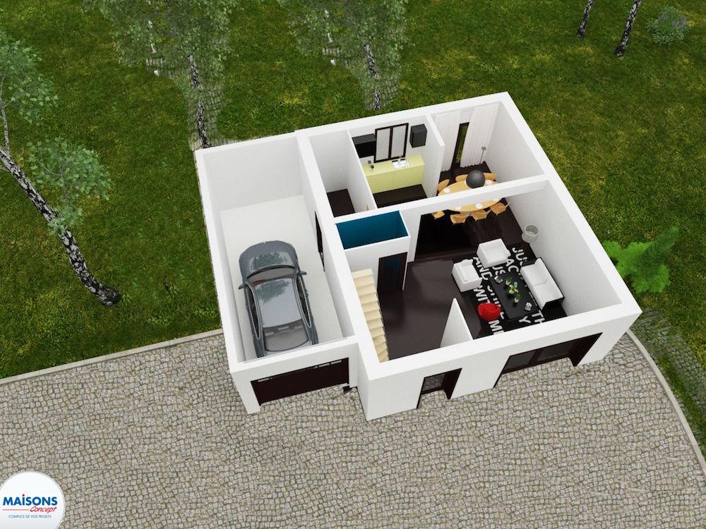 Tradibudget maison traditionnelle Plan 3D city Tradi 60 rez de chaussee