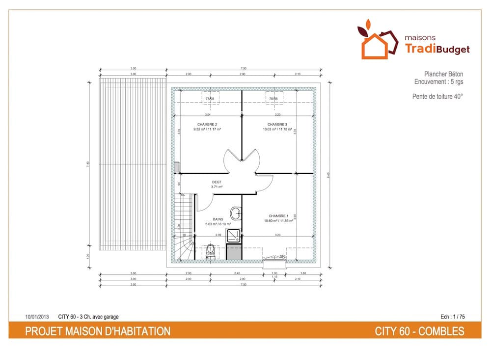 Tradibudget maison traditionnelle Plan CiTy Tradi 60 etage