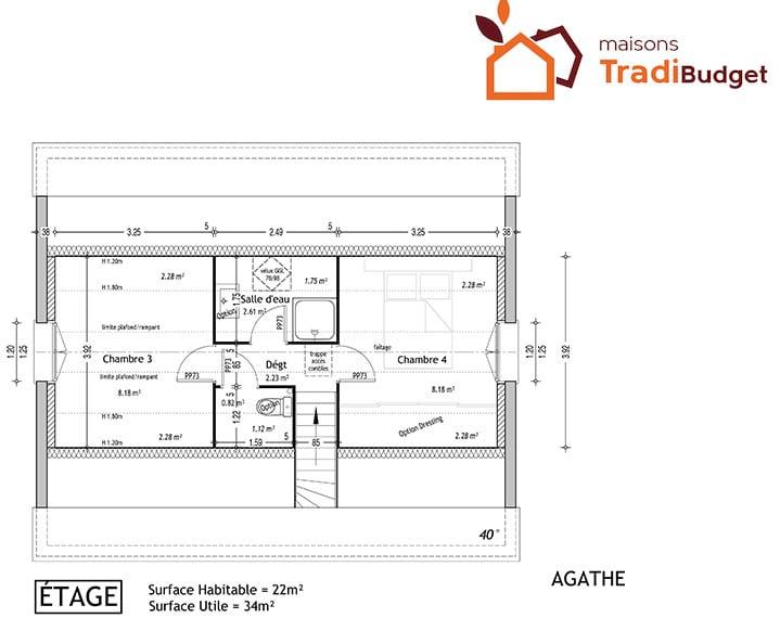 Tradibudget maison traditionnelle plan maison étage AGATHE 2-65E