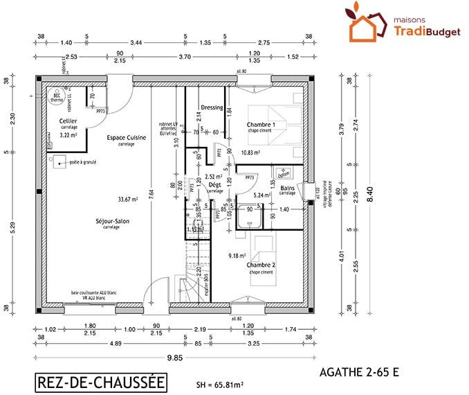 Tradibudget maison traditionnelle plan maison rdc AGATHE 2-65E